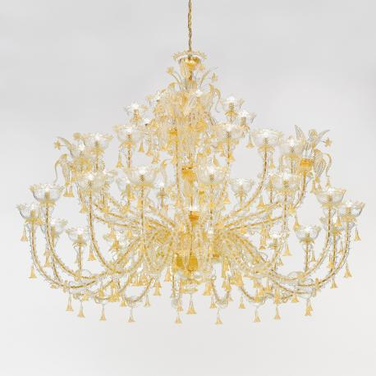 """""""Silvana"""" lampara de araña de Murano - 32+8 luces - oro"""