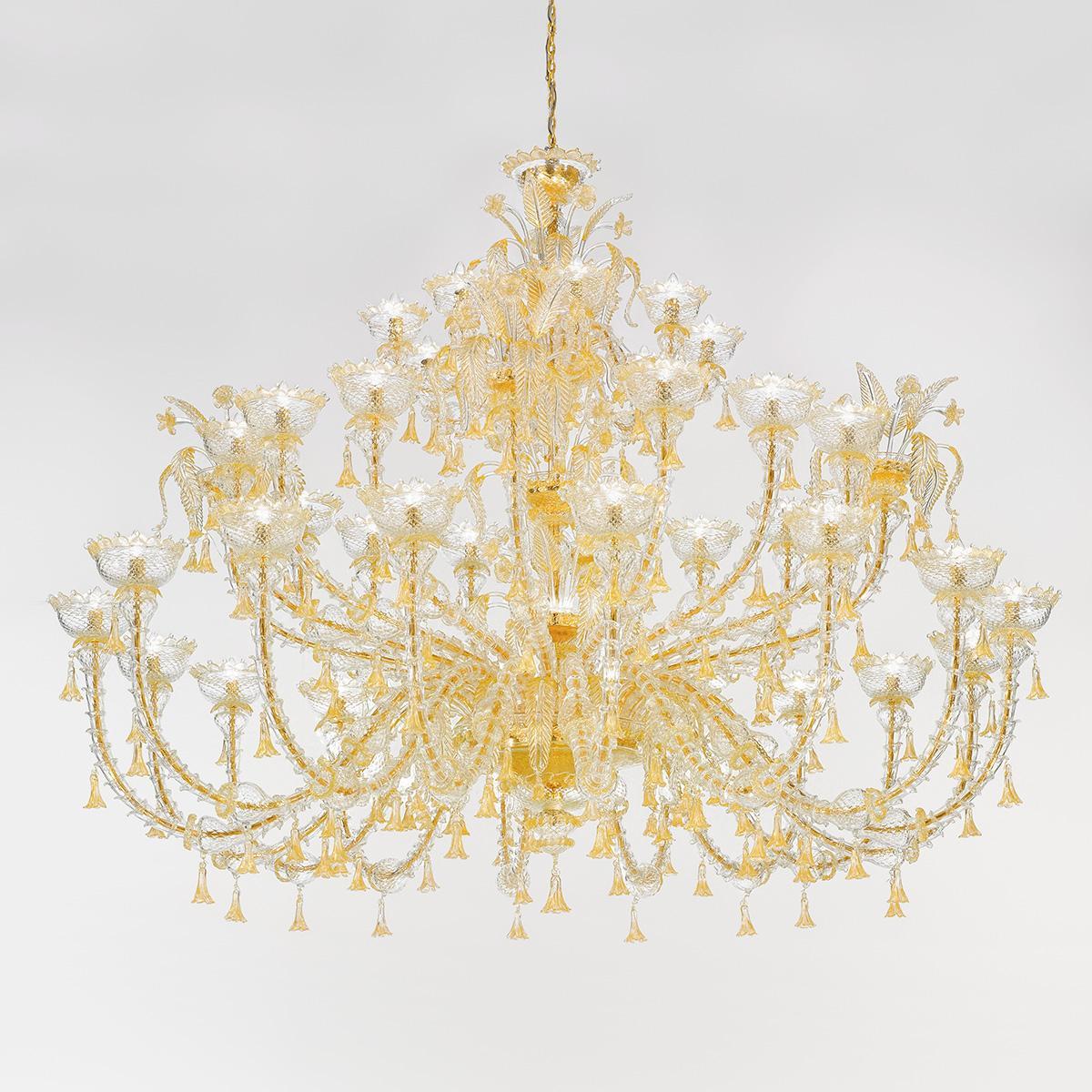 """Silvana"" Murano glas Kronleuchter - 32+8 flammig - gold"