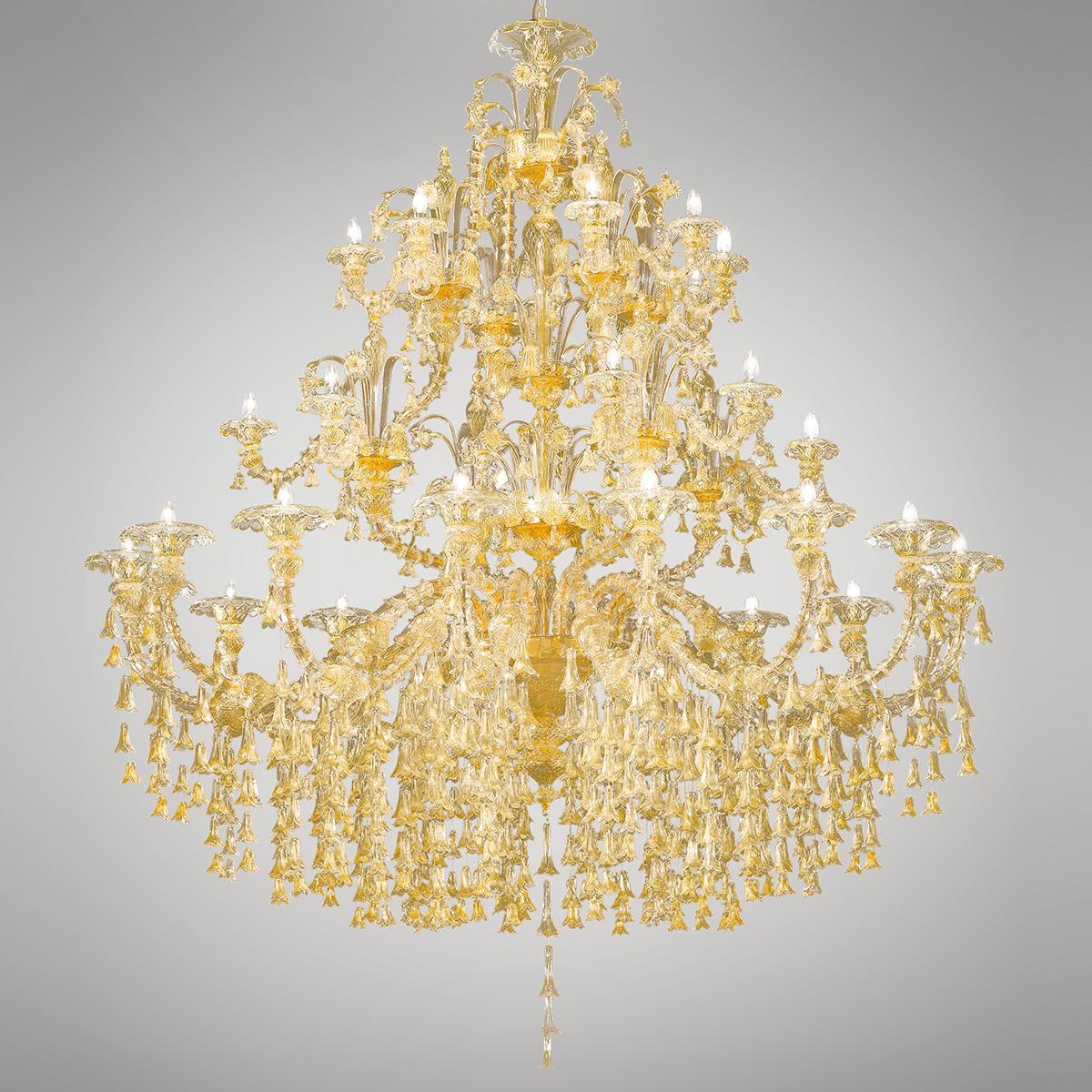 """Patrizia"" lustre en cristal de Murano - 32+8 lumières - or"