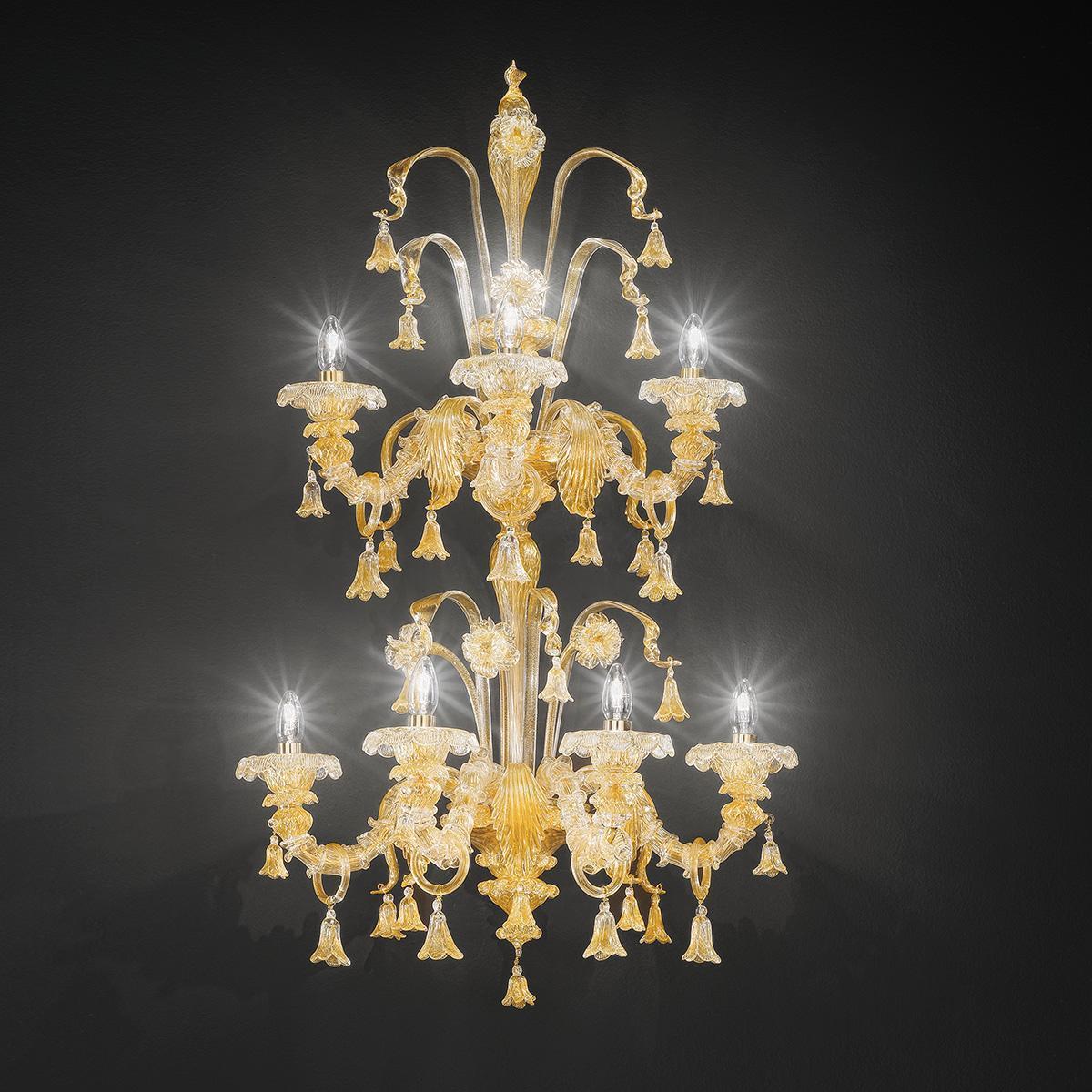 """Patrizia"" Murano glas wandleuchte - 7+4 flammig - gold"