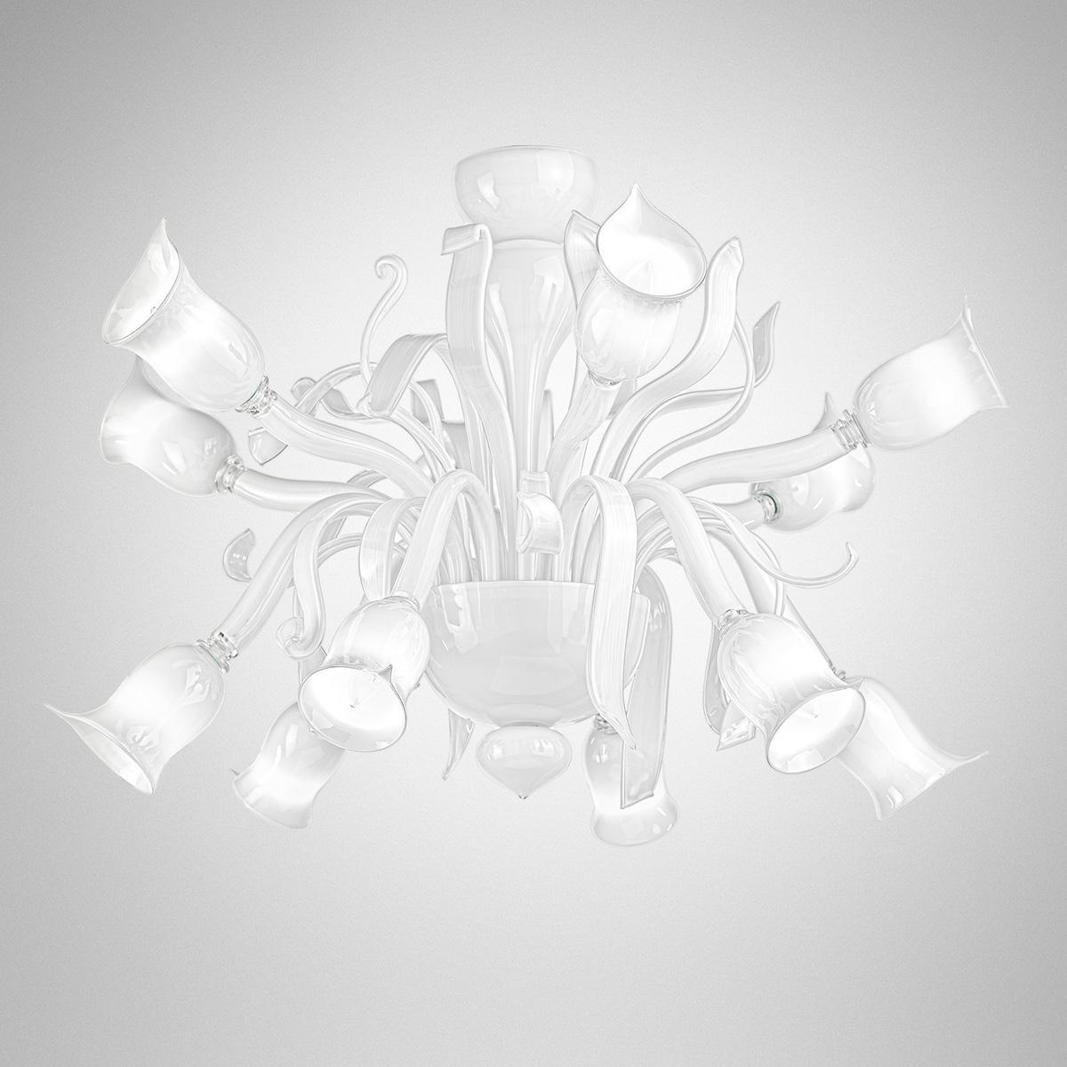 """Gigliola"" lustre en cristal de Murano  - 6+6 lumières - blanc"