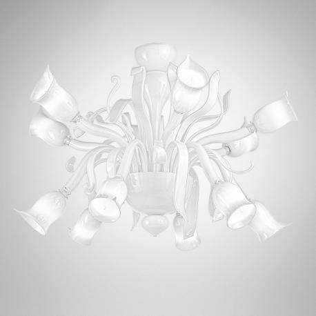 """Gigliola"" Murano glass chandelier - 6+6 lights - white"