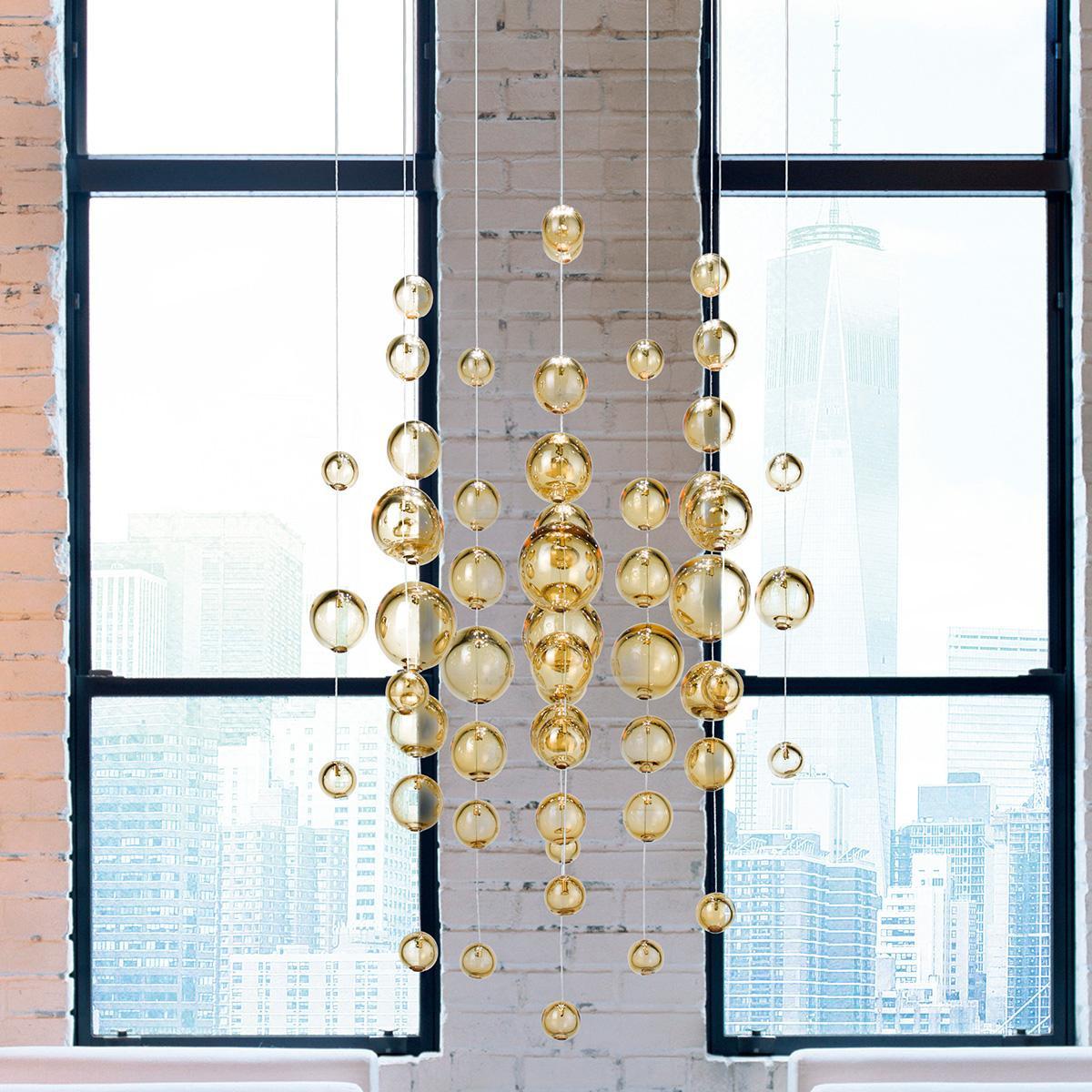 """""""Virginia"""" lámpara colgante en cristal de Murano - 5 luces - ámbar"""