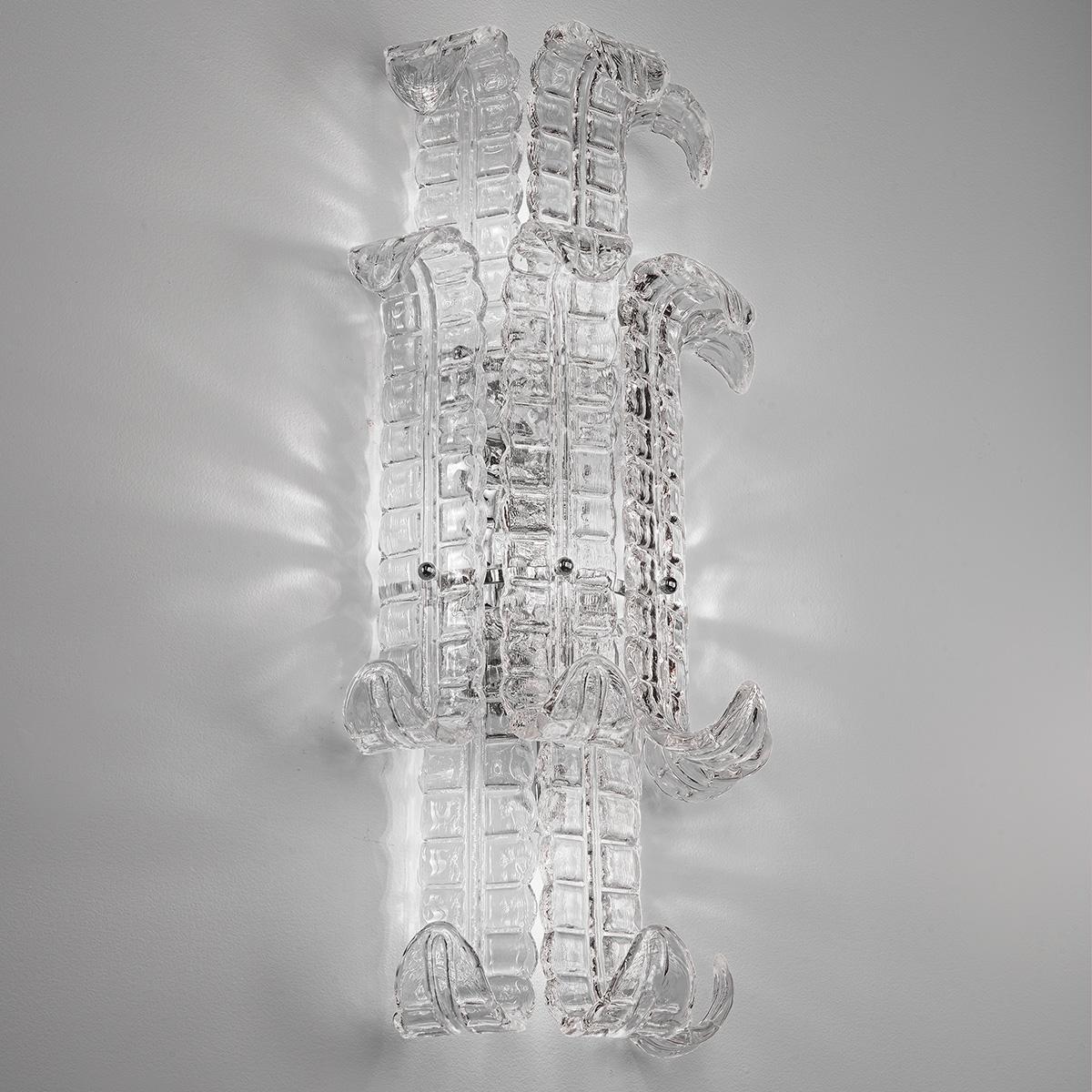 """Maida"" Murano glas wandleuchte - 4 flammig - transparent"
