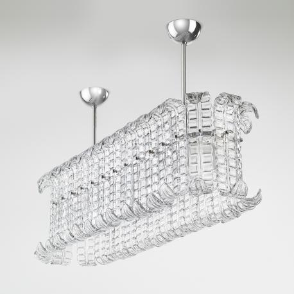 """Maida"" gran lámpara colgante en cristal de Murano - 12 luces - transparente"