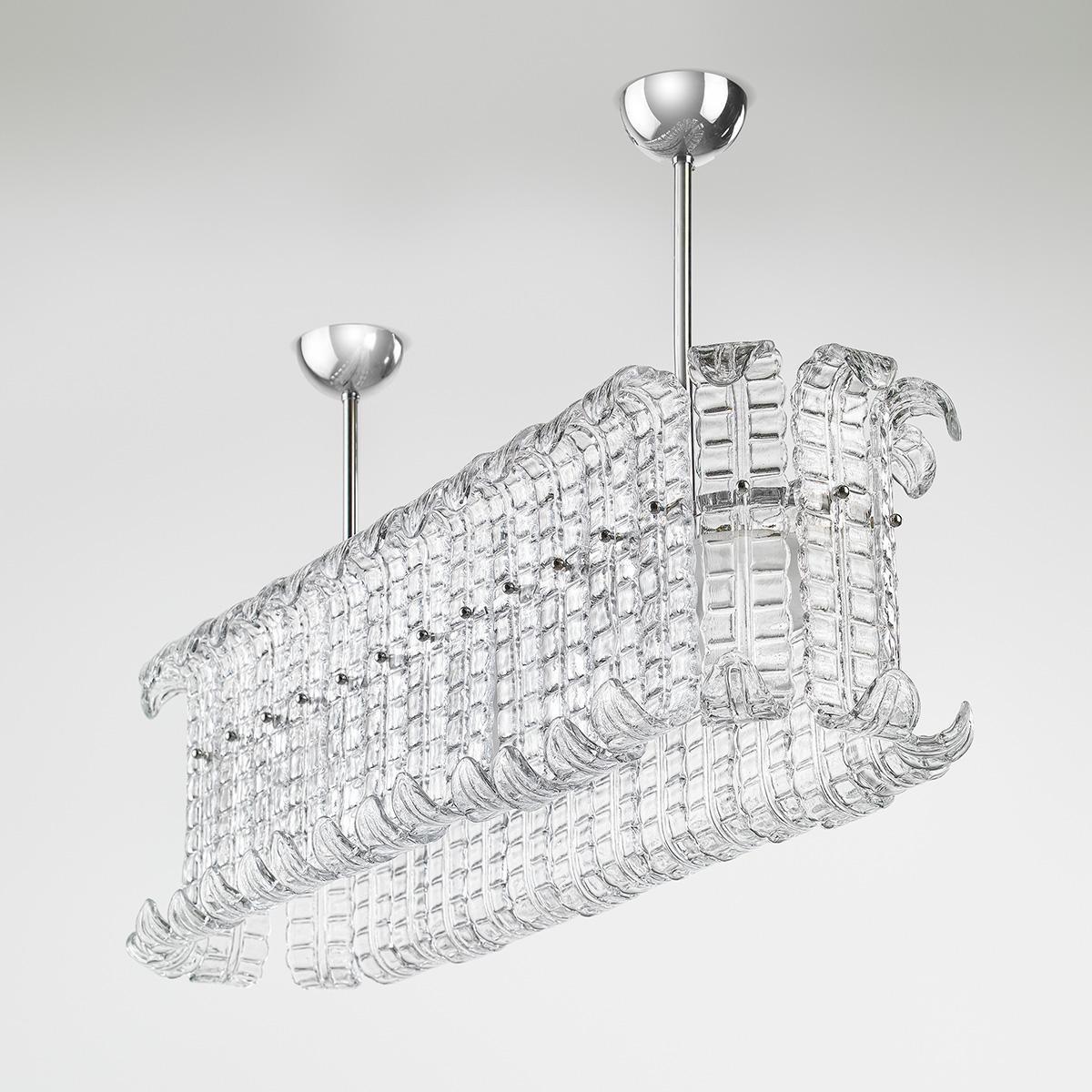 """""""Maida"""" grande suspension en verre de Murano - 12 lumières - transparent"""