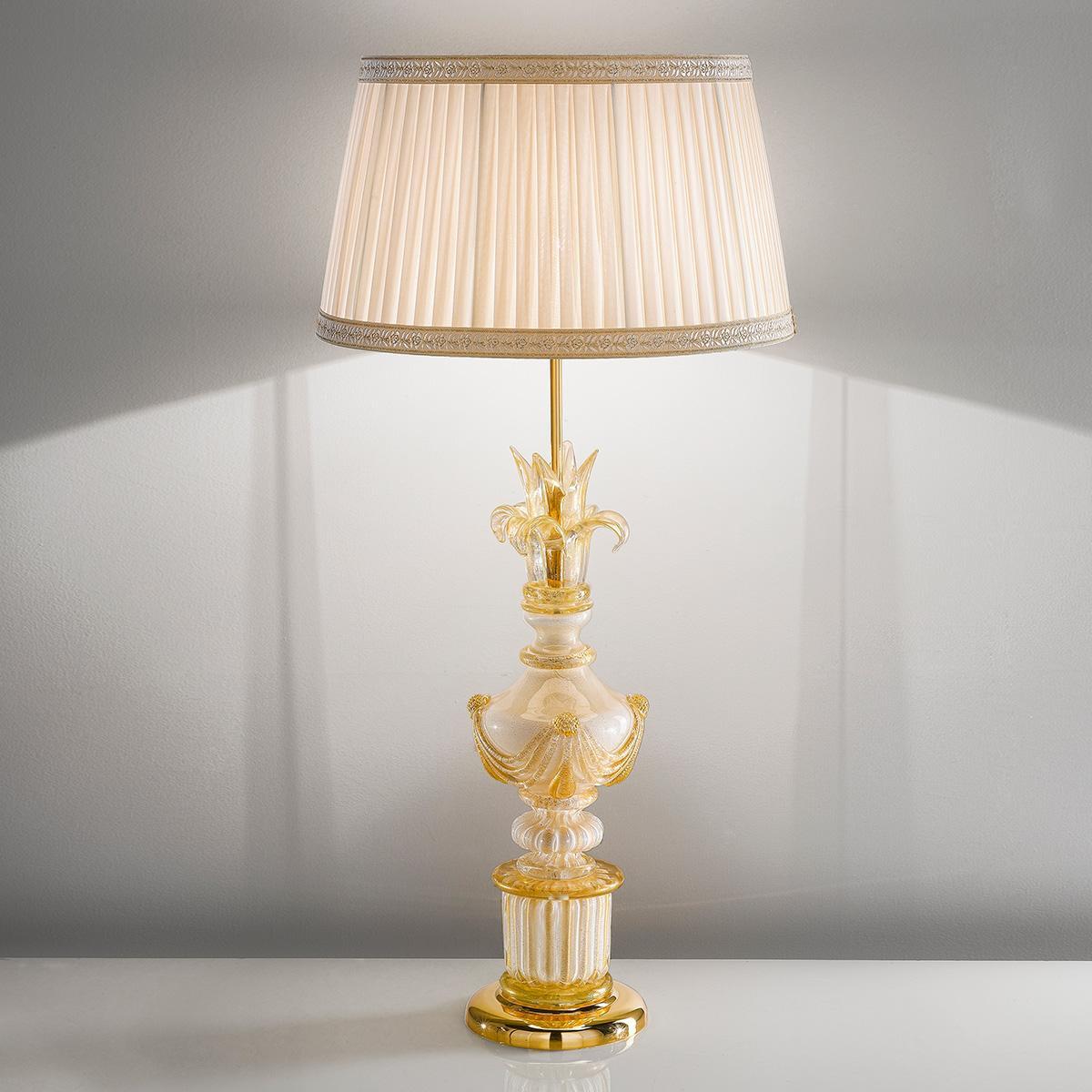 """""""Felicia"""" lampara de sobremesa de Murano - 1 luce - blanco y oro"""