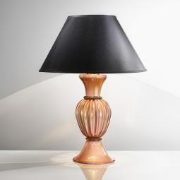 """Sabrina"" Murano glass table lamp - 1 light - pink, gold and black"