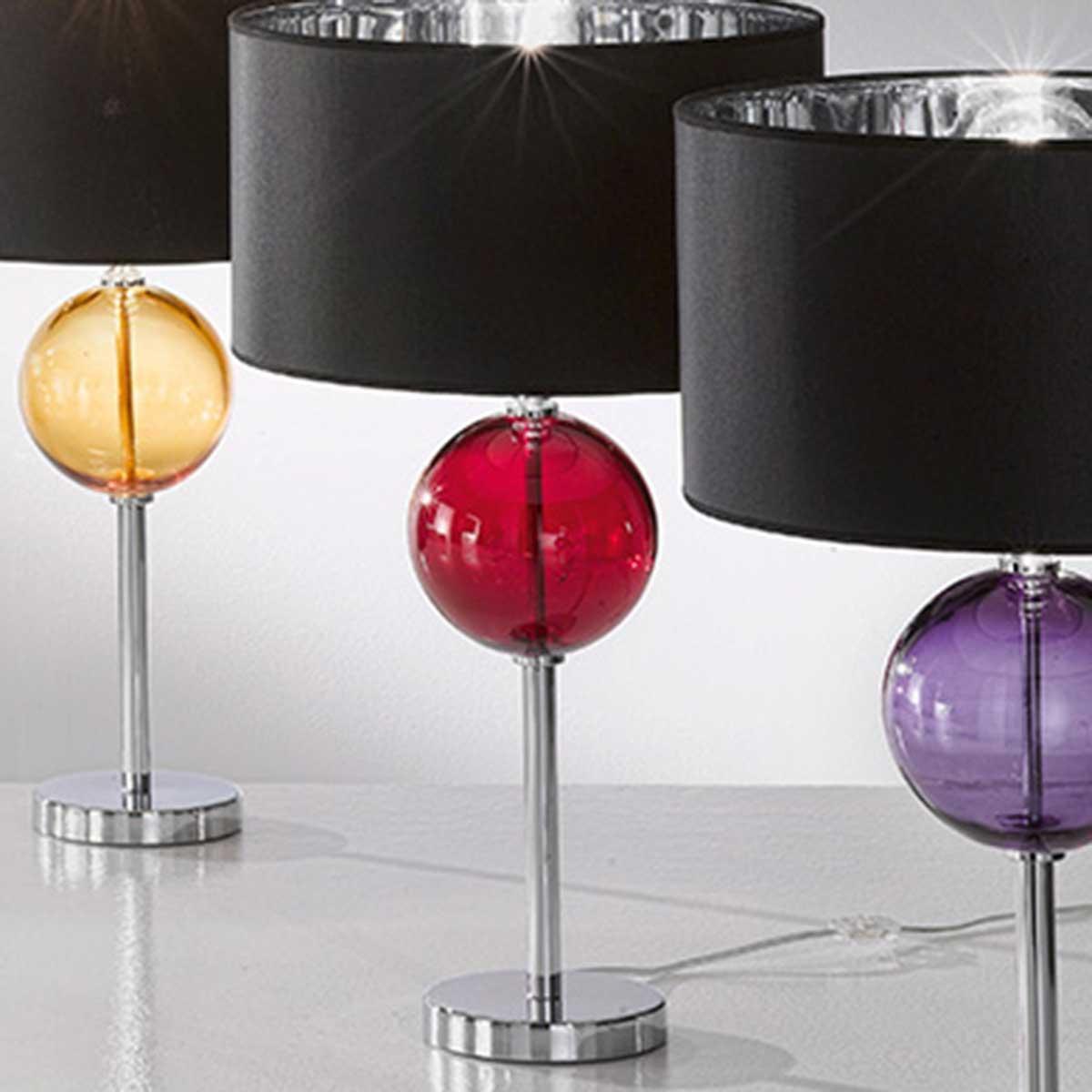 """Santina"" Murano glass bedside lamp  - 1 light - red"