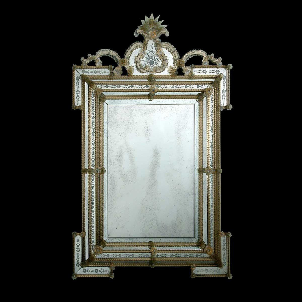 """""""Clelia """" miroir vénitien en verre de Murano"""