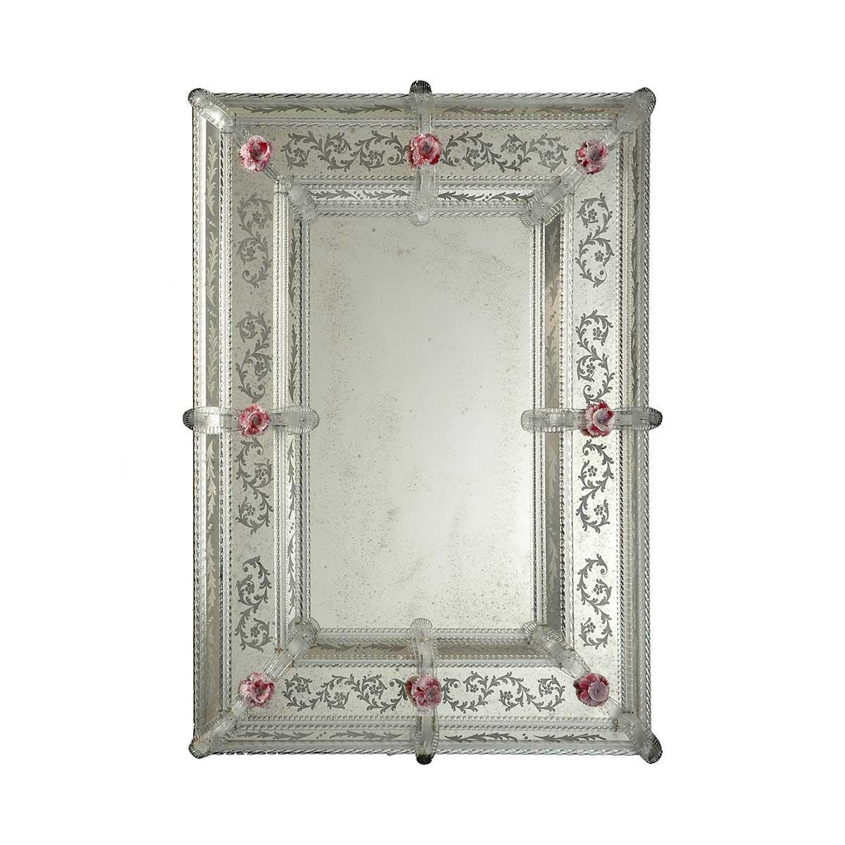 """Lorella "" miroir vénitien en verre de Murano"