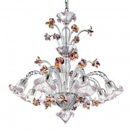 Carnevale 8 lights Murano chandelier with decorative tier, transparent polychrome color