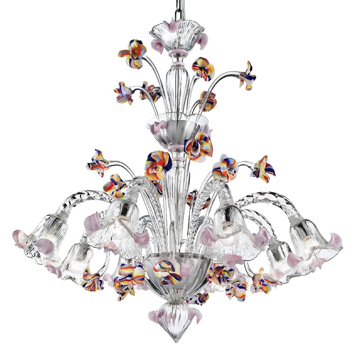 Carnevale 8 lumières Murano chandelier avec un niveau decoratif, couleur transparente polychrome