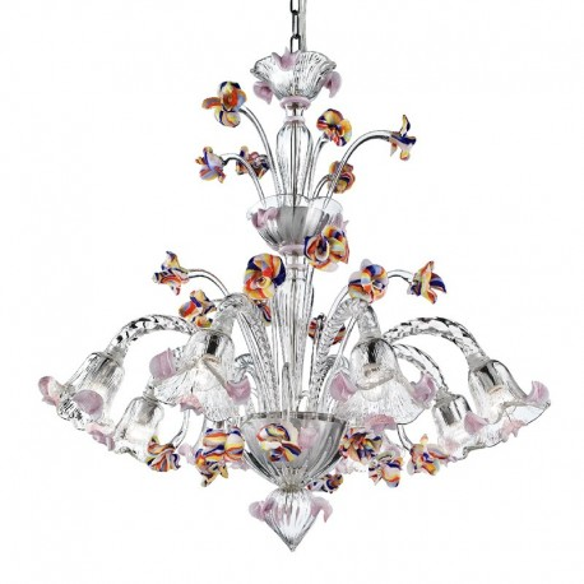Carnevale 8 flammig Murano-Kronleuchter mit dekorative tier, transparent vielfarbig