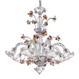 Carnevale 8 lights Murano chandelier with decorative tier, green LED