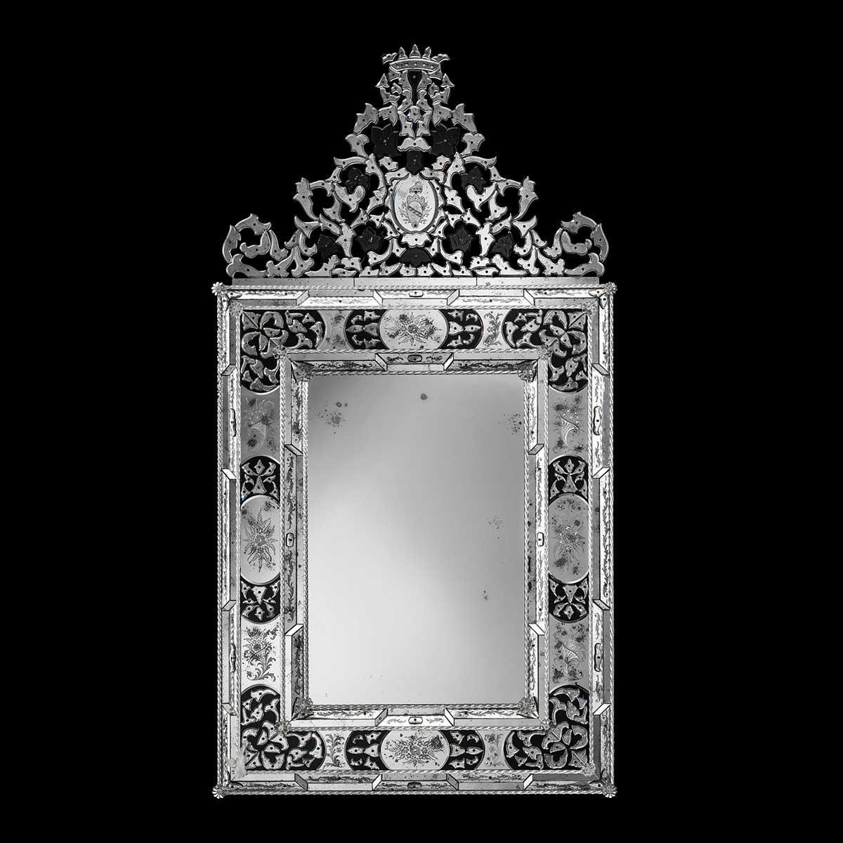 """Vincenza "" miroir vénitien en verre de Murano"