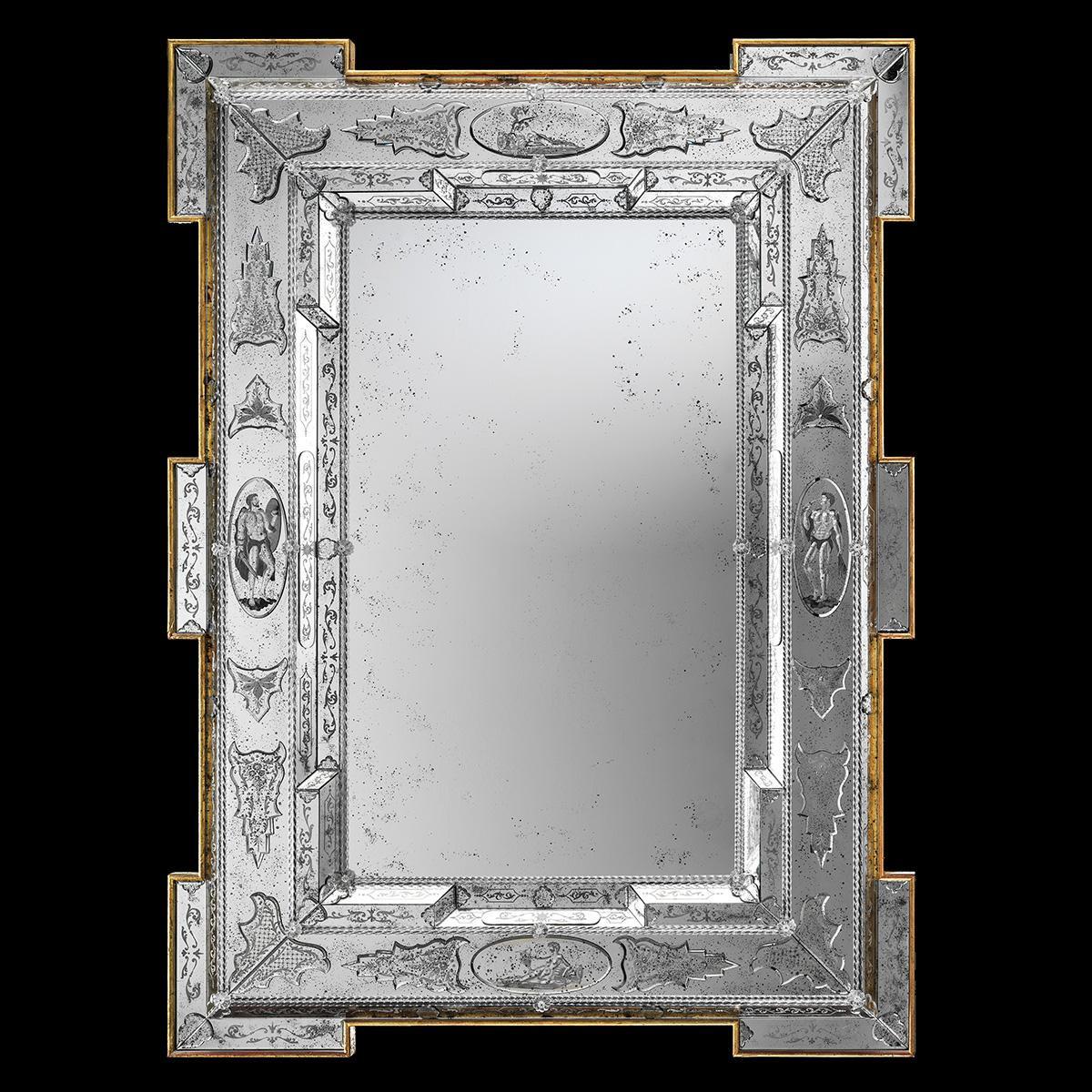 """""""Fausta """" espejo veneciano de cristal de Murano"""