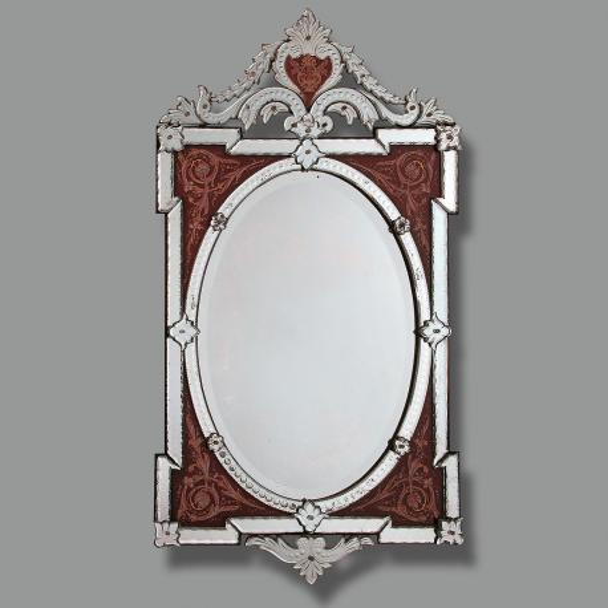 """""""Carmela """" miroir vénitien en verre de Murano"""
