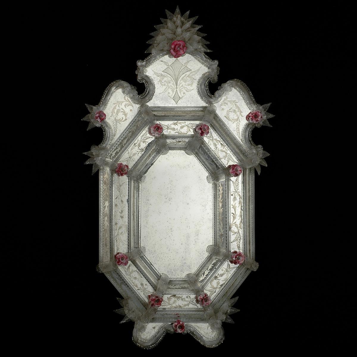 """""""Lena """" espejo veneciano de cristal de Murano"""