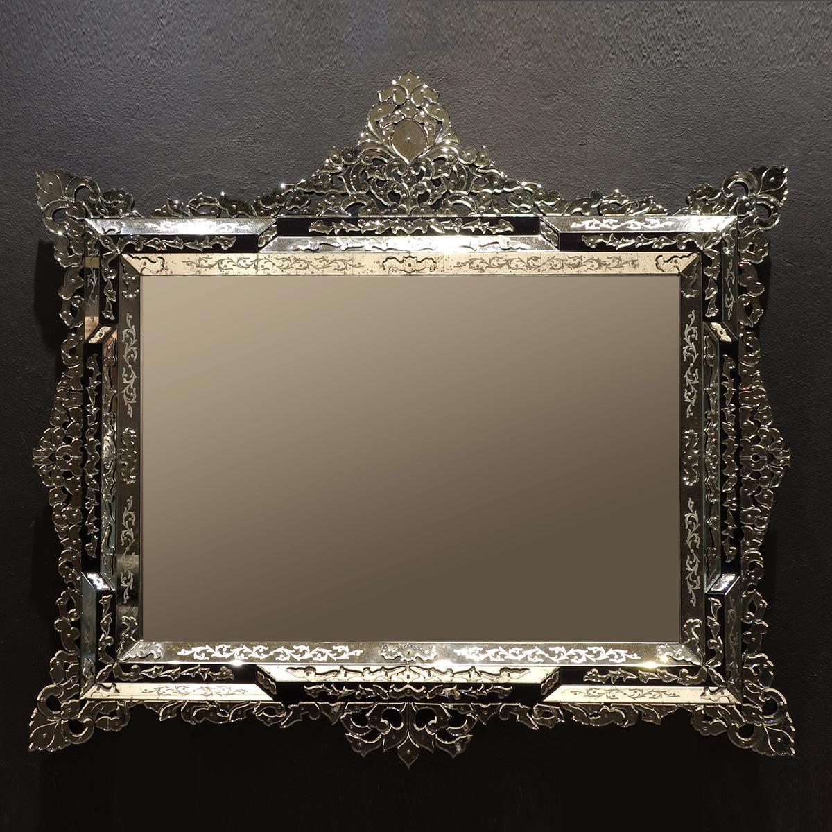"""Lorenzo"" espejo veneciano de cristal de Murano"