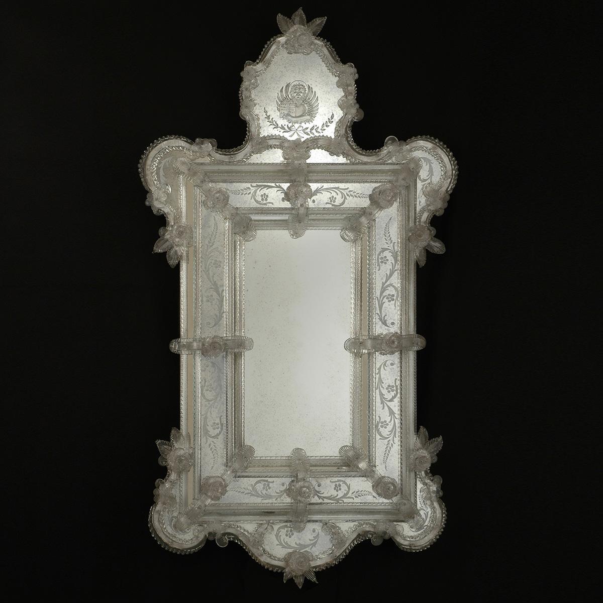 """Egidia"" miroir vénitien en verre de Murano"