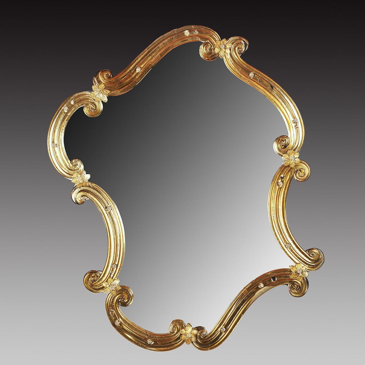 """Rosmunda  oro"" miroir vénitien en verre de Murano - or"