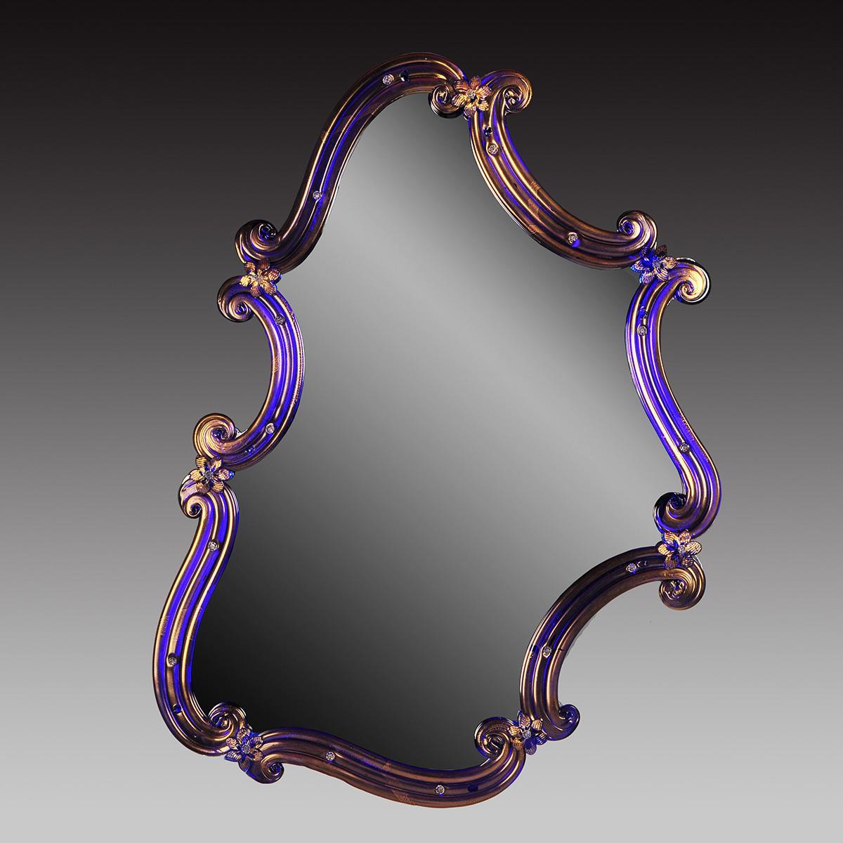 """""""Rosmunda blu"""" espejo veneciano de cristal de Murano - azul"""