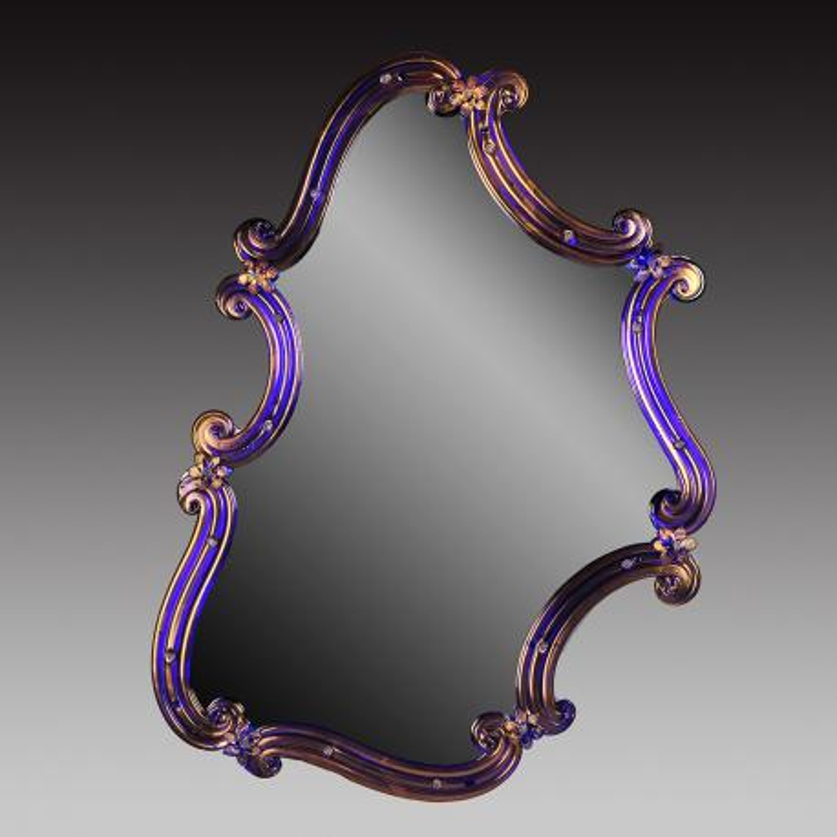"""Rosmunda blu"" miroir vénitien en verre de Murano - bleu"