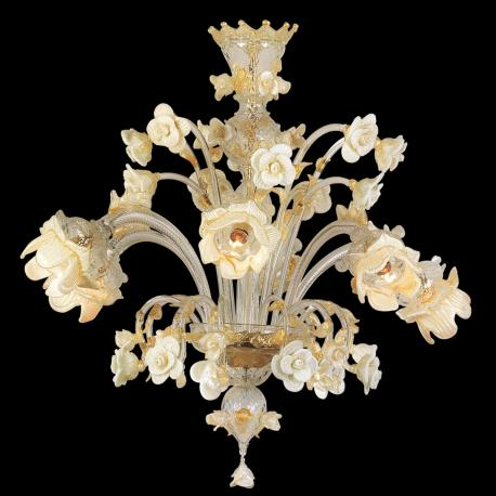 """""""Tallulah"""" Murano glass chandelier - 6 lights - transparent, white and gold"""