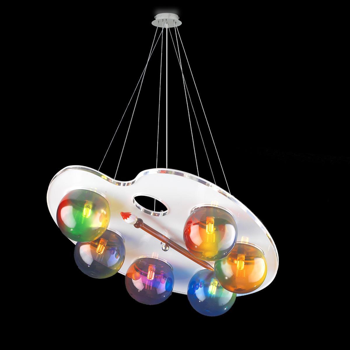 """""""Fancy"""" lámpara colgante en cristal de Murano - 6 luces - multicolor"""