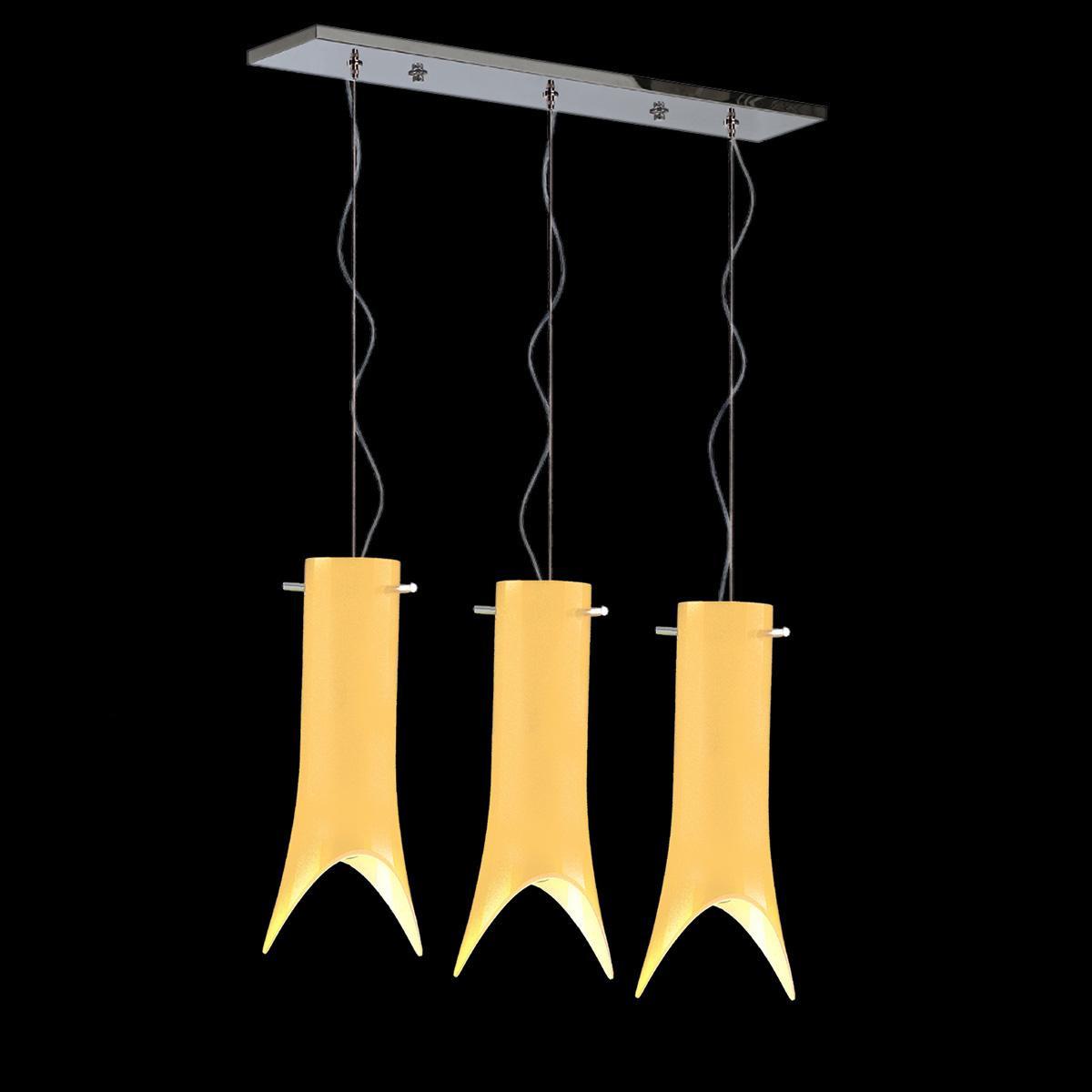 """""""Abbey"""" lámpara colgante en cristal de Murano - 3 luce - ámbar"""