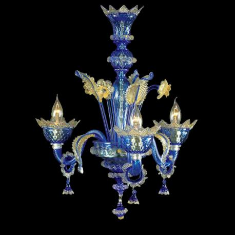 """Carine "" Murano glass chandelier - 3 lights - blue and gold"