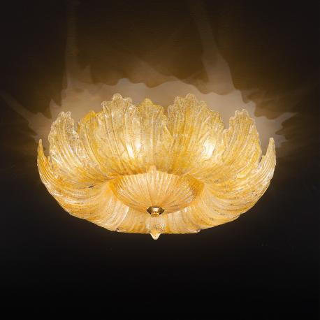 """Oliviera"" Murano glass ceiling light - 10 lights - amber"