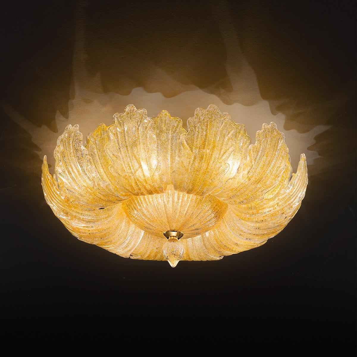"""""""Oliviera"""" plafonnier en verre de Murano - 10 lumières - ambre"""