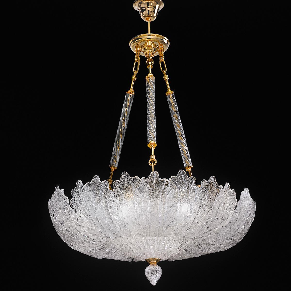 """Oliviera"" suspension en verre de Murano - 10 lumières - transparent"