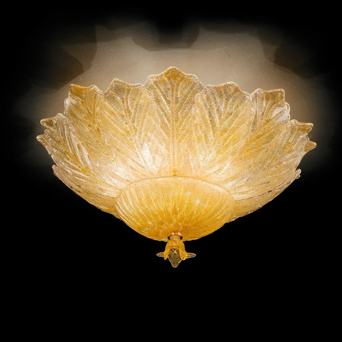 """""""Leonilda """" plafonnier en verre de Murano - 6 lumières - """"rugiada"""" ambre"""