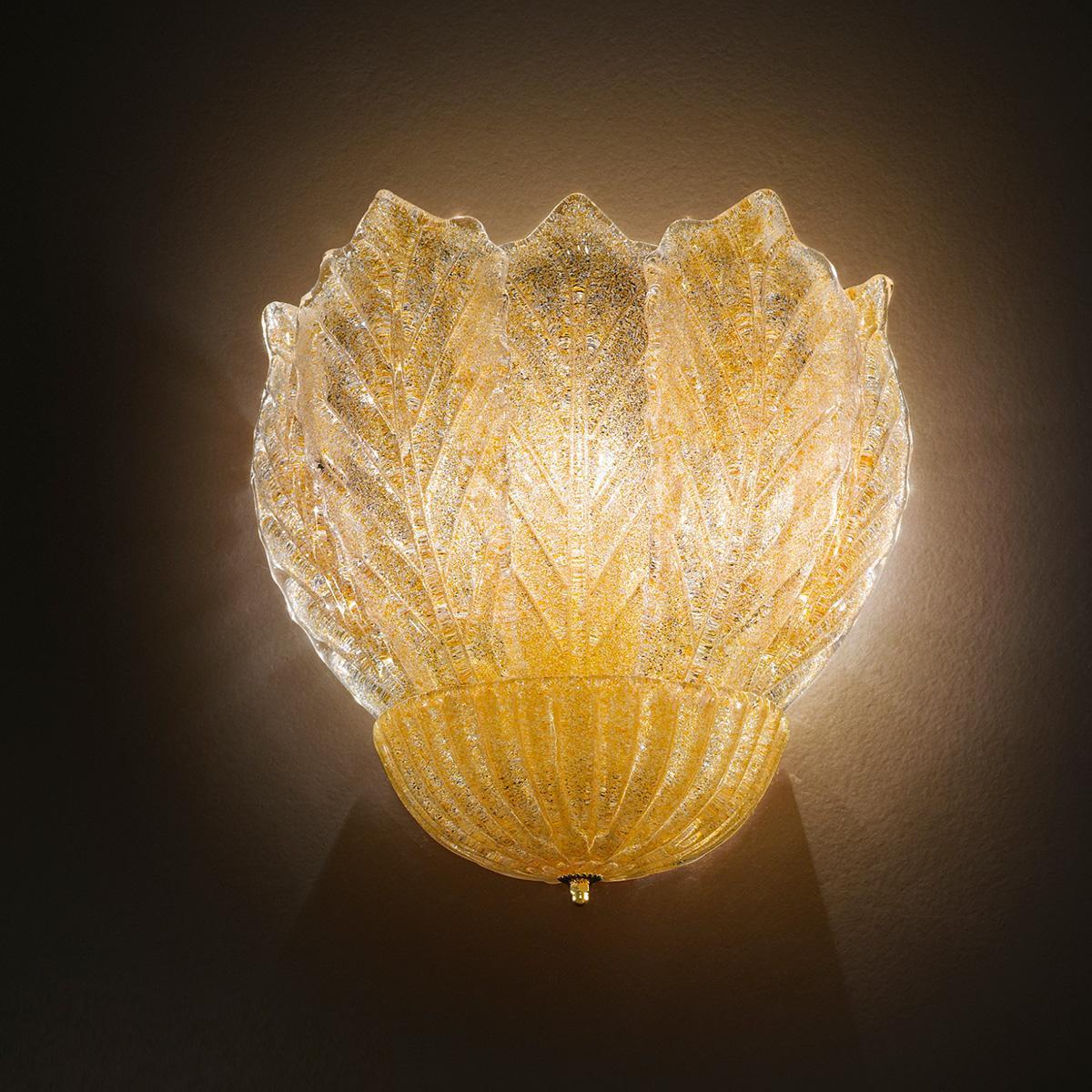 """""""Leonilda """" applique en verre de Murano - 3 lumières - """"rugiada"""" ambre"""