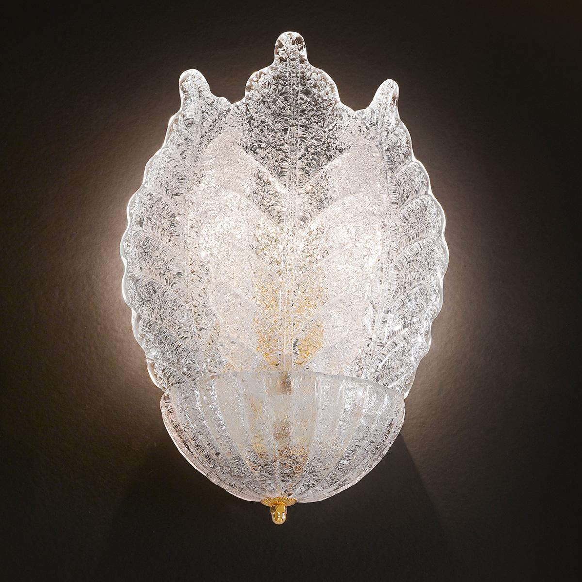 """Veneranda "" applique en verre de Murano - 2 lumières - ""rugiada"" transparent"