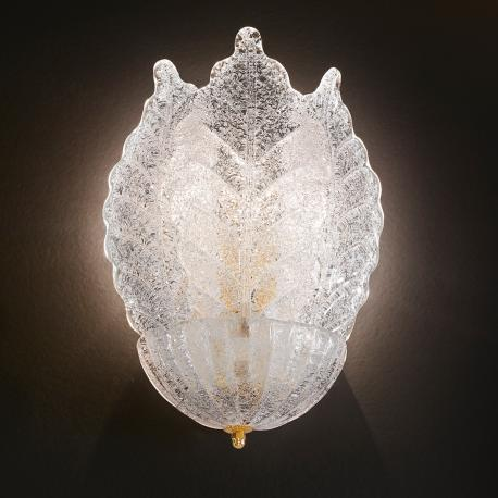 """Veneranda "" Murano glass sconce - 2 lights - ""rugiada"" transparent"
