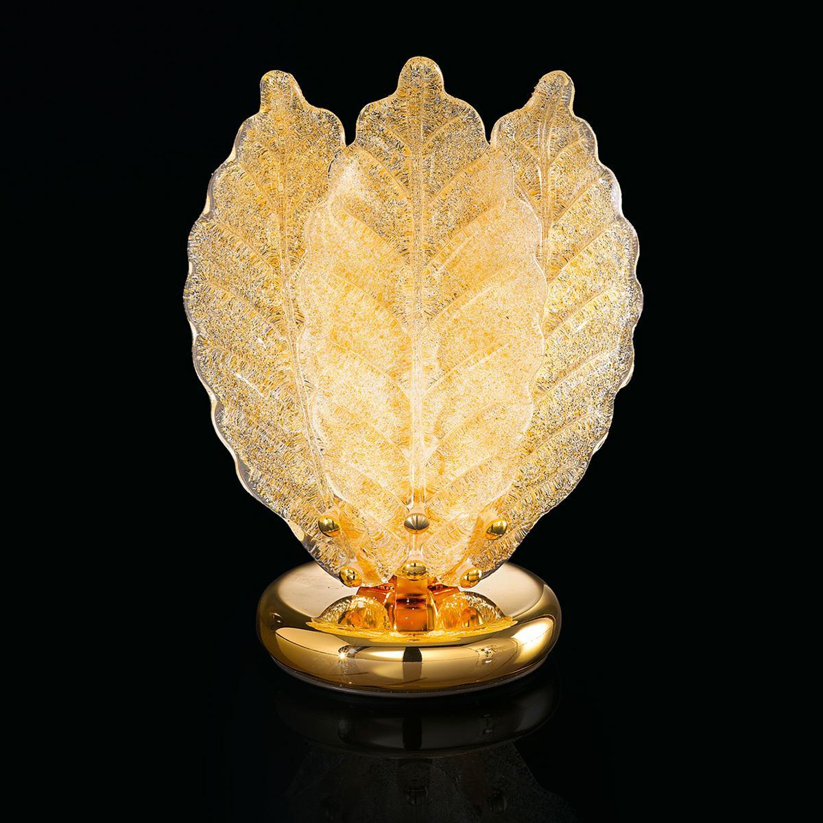 """Veneranda "" lampe de chevet en verre de Murano - 1 lumière - ""rugiada"" ambre"