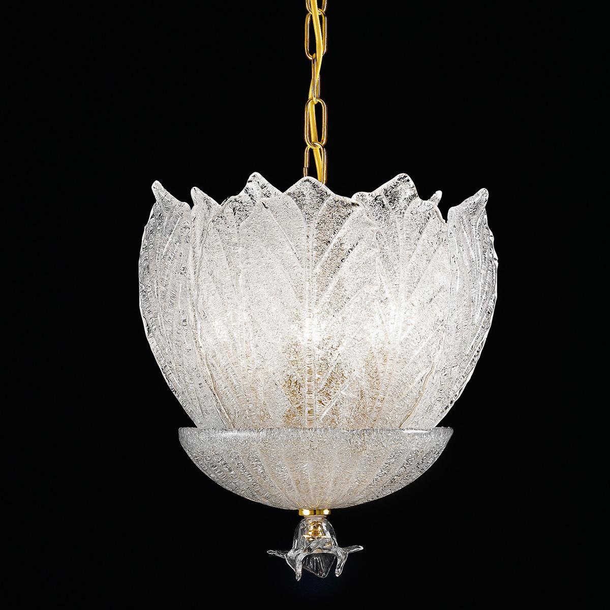 """""""Luigia"""" suspension en verre de Murano - 5 lumières - """"rugiada"""" transparent"""