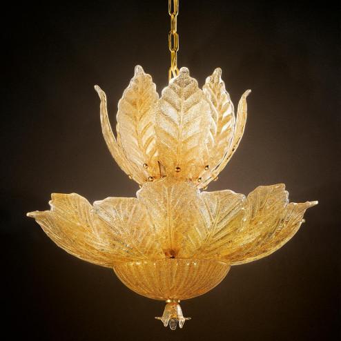 """""""Danila"""" lámpara colgante en cristal de Murano - 12 luces - """"rugiada"""" ámbar"""