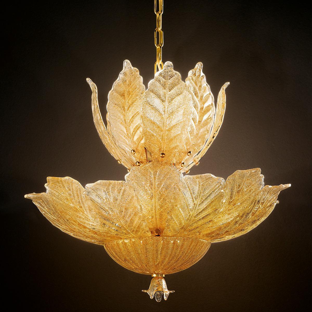 """""""Danila"""" suspension en verre de Murano - 12 lumières - """"rugiada"""" ambre"""