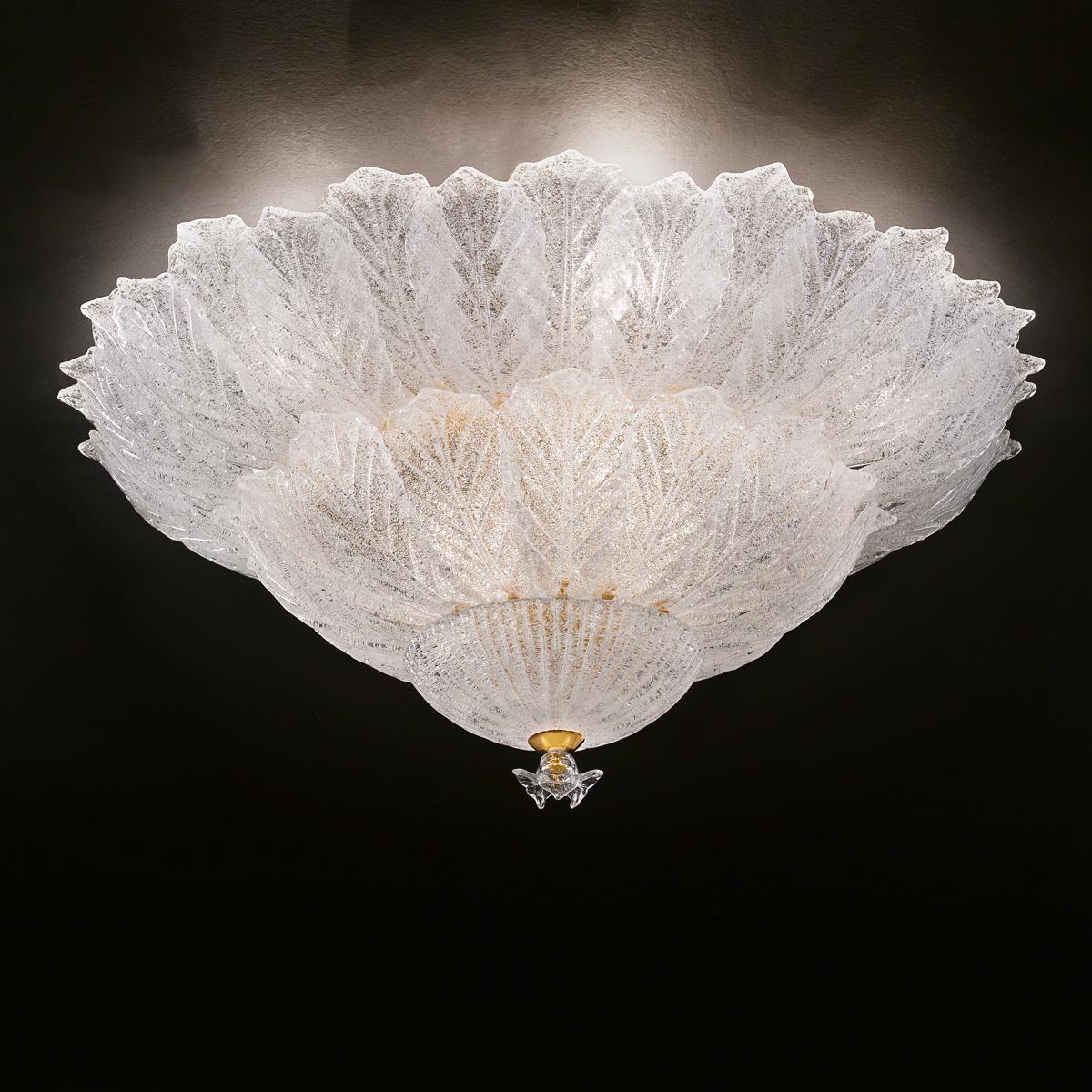 """Osanna"" lampara de techo de Murano - 12 luce - ""rugiada"" transparente"