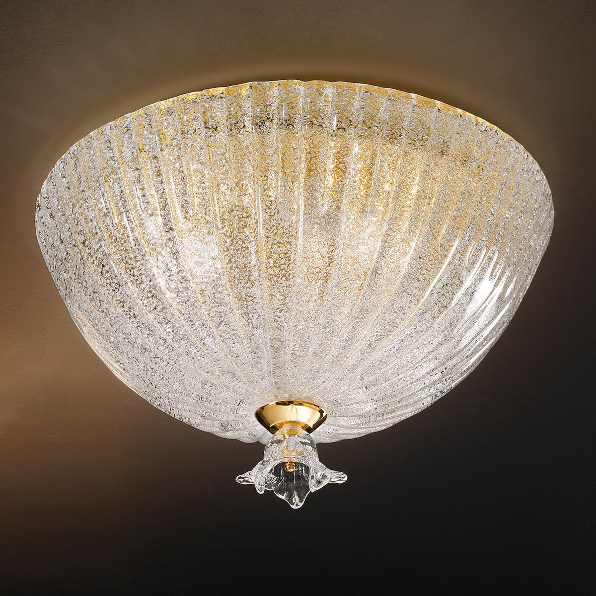 """Severa "" lampara de techo de Murano - 3 luces - ""rugiada"" transparente"