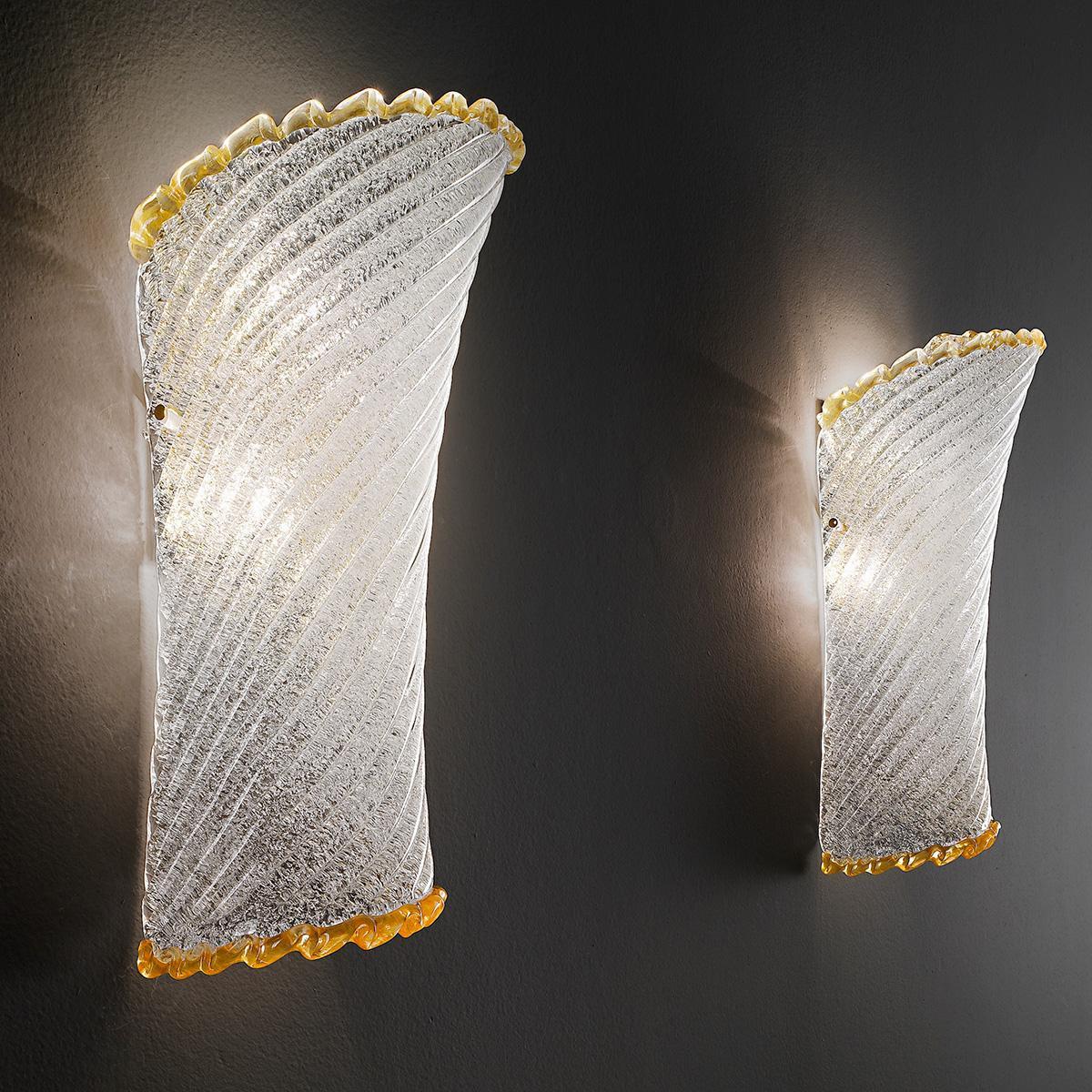 """""""Lara"""" applique en verre de Murano - 2 lumières - transparent """"rugiada"""" et ambre"""