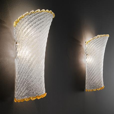 """Lara"" Murano glass sconce - 2 lights - transparent ""rugiada"" and amber"