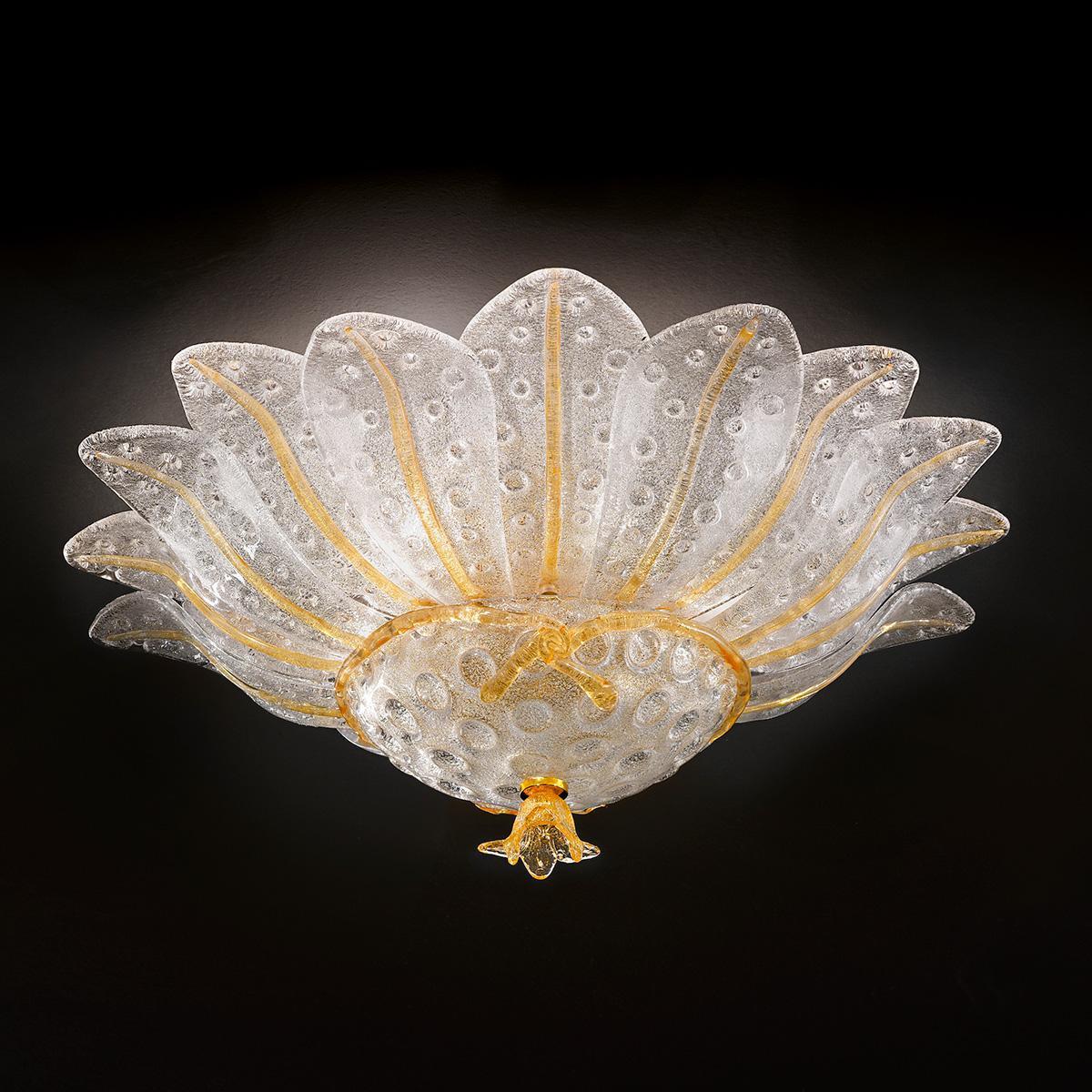 """""""Samanta"""" lampara de techo de Murano - 6 luces - transparent y ámbar"""