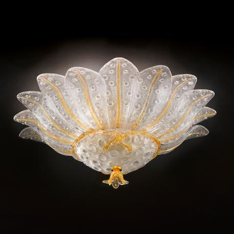 """Samanta"" Murano glass ceiling light - 6 lights - transparent and amber"
