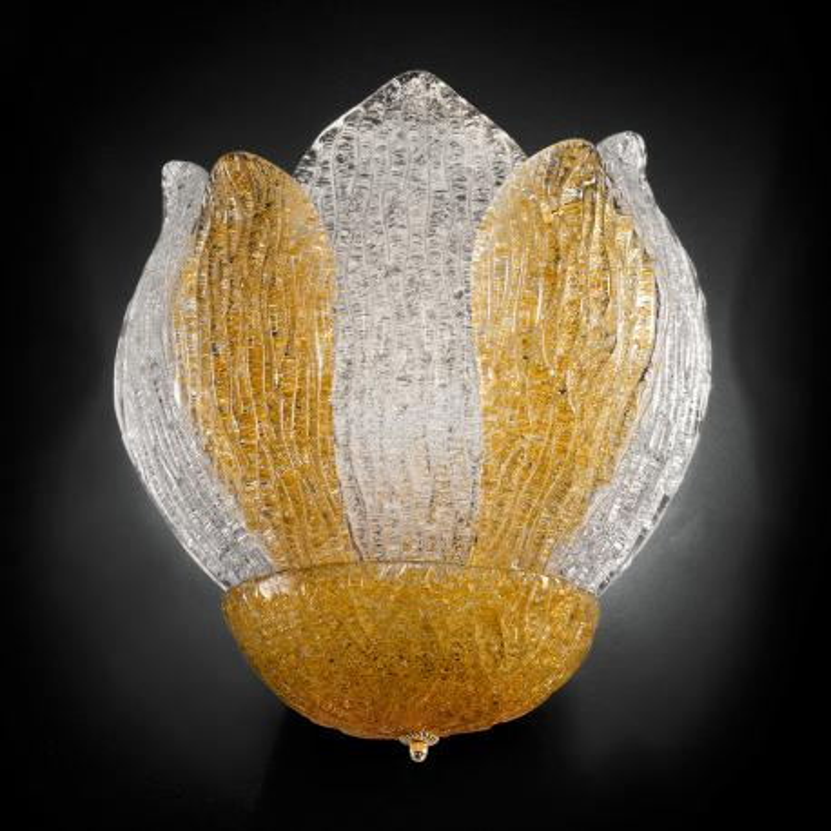 """""""Adriel"""" aplique de pared de Murano - 3 luces -  """"rugiada"""" transparente y ámbar"""